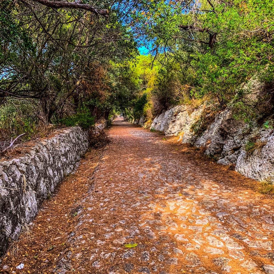 Il sentiero che ci ha portato alle polveriere borboniche già tinto d'autunno a inizio settembre.